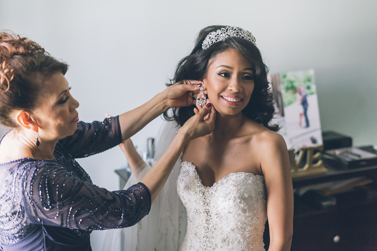 Giselle and Lynn getting ready for their winter wedding at The Venetian NJ photography by NY NJ Wedding Photographers Pearl Paper Studio.
