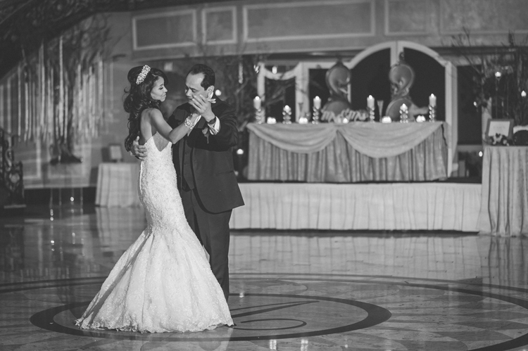 Giselle and Lynn first dance during their winter wedding reception at The Venetian NJ photography by NY NJ Wedding Photographers Pearl Paper Studio.