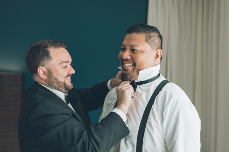 Laurie and Angelo getting ready on the morning of their wedding at Il Villaggio, NJ. Wedding photography by NY NJ Wedding Photographers Pearl Paper Studio.