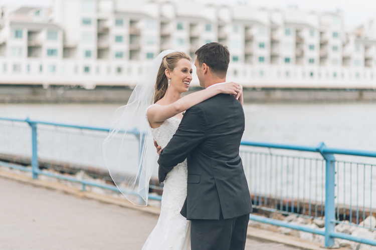 Jessica and Colin first look at Chart House Weehawken NJ Wedding Photography captured by NY NJ Wedding Photographers Pearl Paper Studio.