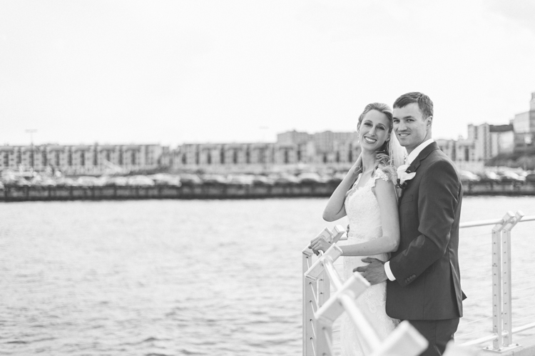 Jessica and Colin wedding day bridal portrait at Chart House Weehawken NJ Wedding Photography captured by NY NJ Wedding Photographers Pearl Paper Studio.