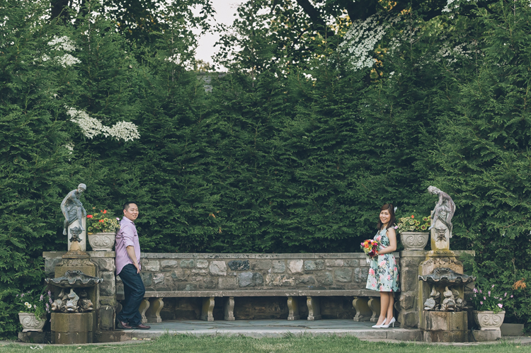 NJ Botanical Garden summer engagement photography with Jinny and John captured by NY NJ Wedding Photographers Pearl Paper Studio.