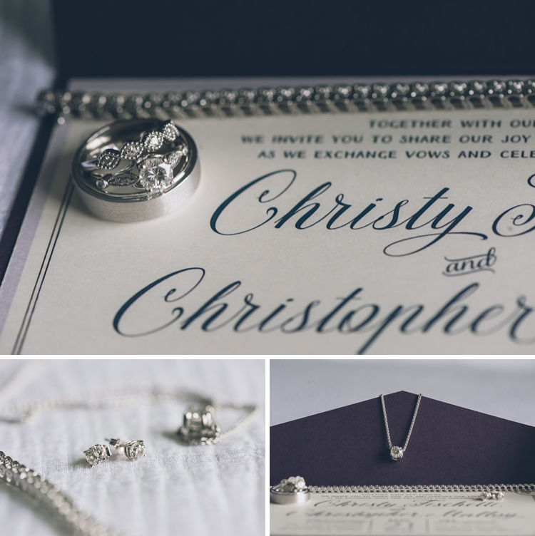 Wedding rings & detail photography during Christy and Chris