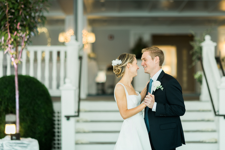 Chic Connecticut wedding at The Belle Haven Club a private club in Greenwich CT located on the shore of Long Island Sound surrounded by private neighborhood. Caroline and Eric's parents are members of the club and were able to get married at this beautiful property along the water. Their wedding ceremony and reception was both fully outdoors on a beautiful September afternoon. Since Caroline and Eric couldn't invite everyone from their original guest list due to COVID regulation their friends and family did a fabulous drive by in their convertibles with balloons and signs. This wedding day was filled with style and at the end of the night Caroline and Eric took off on a boat waving their goodbyes. Belle Haven Club CT wedding with Caroline and Eric captured by MJ from Pearl Paper Studio. Pearl Paper Studio is here to capture real emotions, fun couples with non-traditional wedding stories, now we are booking small and intimate backyard wedding, outdoor tent wedding, farm wedding, elopements, nyc elopements. We are currently booking fall 2020 and 2021 weddings in New Jersey, New York and Long Island.